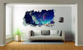 Amazon Com E Graphic Design Inc Planets Window 3d Effect Wall Decal For Room Boys Girls Unisex Wide 30 X16 Height Home Kitchen