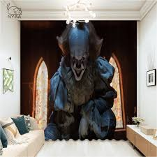 Horror Clown Joker Curtains For Bedroom Outer Space Curtain Children S Room Modern Bedroom Curtains Ultra Thin Micro Shading Sripthrydwulf