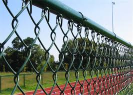 Green Pvc Coated Chain Link Fencing Playground Plastic Coated Wire Mesh