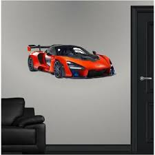 Stick It Graphix Mclaren Senna Hyper Car Wall Decal Vinyl Sticker Racing Super Car Red Carbon V 8