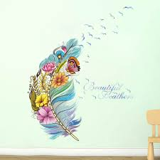 New Diy Creative Feather Wall Art Sticker Kid Baby Bedroom Window Decals Home Decoration Mural Vinyl Wall Home Decal Art Wall Stickers Aliexpress