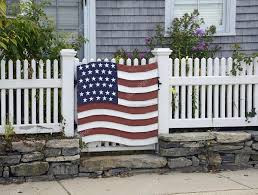 American Flag Decoration On Fence Stock Photo C Cfarmer 35152235