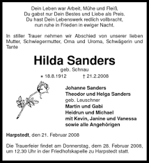 Traueranzeigen von Hilda Sanders   trauer.kreiszeitung.de