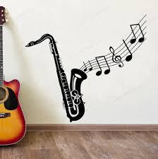 Saxophone Wall Sticker Vinyl Music Notes Wall Decal Music Wall Decor Music Instrument Wall Art Mural Hj630 Wall Stickers Aliexpress