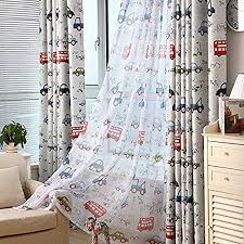 Amazon Com Aifish 1 Panel Kids Curtains Sheer Panels 84 Inches Long Cartoon Car And Bus Print Sheer Curtains Boys Room Rod Pocket Curtains Drapes Window Treatment For Bedroom W52 X L84 Inch