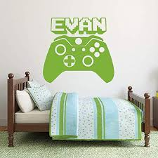Video Gamer Custom Name Vinyl Wall Decal Sticker With Xbox One Controller