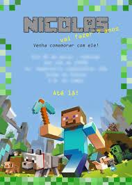 Faca Sua Festa Minecraft Em Casa Invitaciones De Minecraft