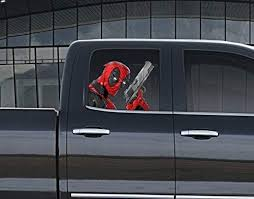 Amazon Com Stikka Vinyl Car Window Full Color Graphics Decal Deadpool With Gun Sticker Kitchen Dining