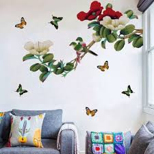 Ancient And Elegant Peony Floral Wall Decal Natural Plants With Butterfly And Bird Wall Stickers Living Room Wall Decor Peel Stick Mural Thefuns On Artfire