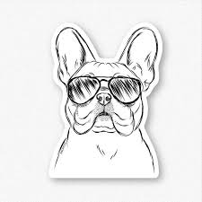 Franco The French Bulldog With Sunglasses Decal Sticker Inkopious