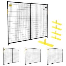 Perimeter Patrol 6 Ft X 29 Ft 4 Panel Black Powder Coated Welded Wire Temporary Fencing Rf 10005 4 The Home Depot