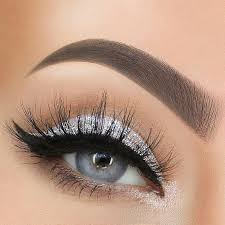 eyes with silver glittery eye makeup