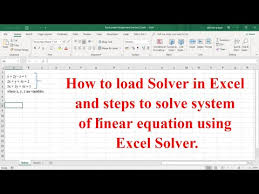 linear equation using excel solver