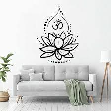 Lotus Flower Wall Decal Yoga Studio Decor Hinduism Hindu Om Symbol Meditation Wall Stickers Vinyl Home Bedroom Decor Mural X123 Wall Stickers Aliexpress