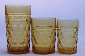 coin spot thumbprint amber glass