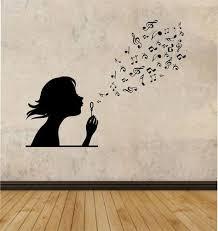 Girl Blowing Music Notes Vinyl Wall Decal Sticker Art Decor Etsy Music Room Decor Sticker Art Vinyl Wall Decals