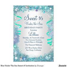 Blue Under The Sea Sweet 16 Invitation Zazzle Com Invitaciones