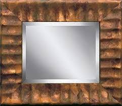 wavy light copper framed beveled glass
