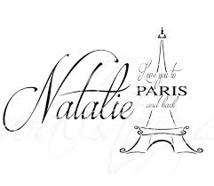 Girls Name Love You To Paris And Back Wall Decal Eiffel Tower Large Size Options Personalized Custom Teen