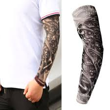 Moda Meska Tatuaz Rekaw Rozciagliwy Ochrona Uv Slip Mangas
