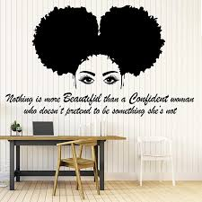 Amazon Com 21 X 35 In Afro Wall Art Decals Decor Afro American African Girl Hair Black Women Salon Stickers Afro Decorations Pictures Posters Motivational Inspirational Quotes Aa043 Home Kitchen