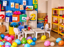 Kindergarten Interior Decoration Child Picture On Wall Preschool Stock Photo Picture And Royalty Free Image Image 68915876