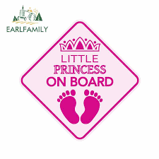 Earlfamily 13cm X 13cm Car Stickers Little Princess On Board Baby Car Sign Window Decal Bumper Sticker Vinyl Safety Graphic Car Stickers Aliexpress
