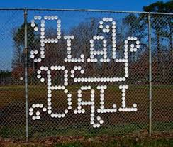 Cup In Fence Baseball Sign Engagement Photo With Initials Styrofoam Cups Fence Art Typography Inspiration