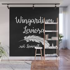 Wingardium Leviosa Black Wall Mural By Whenmelissareads Society6
