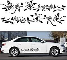 Amazon Com Luixxuer 2pcs Car Side Body Stickers Flowers Graphics Side Skirt Vinyl Stickers Decals Car Exterior Decorations Universal Automotive