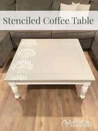 stencil on square side table