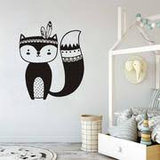 Fox Wall Decal Nursery Wall Stickers Woodland Kids Decal Tribal Nurser Home Decor