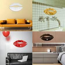 Fashion 3d Kiss Lips Mirror Wall Stickers Acrylic Diy Art Decals Home Room Decor Wish