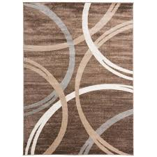 modern abstract circles brown 7 ft