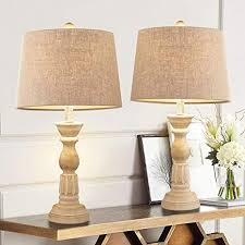 Amazon Com Oneach Table Lamps Set Of 2 For Living Room Bedside Desk Lamps Vintage Bedroom Lamps For Study Kids Room Office White Washed Home Improvement