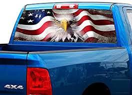 Amazon Com P423 American Flag Eagle Tint Rear Window Decal Wrap Graphic Perforated See Through Universal Size 65 X 17 Fits Pickup Trucks F150 F250 Silverado Sierra Ram Tundra Ranger Colorado Tacoma 1500