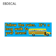 Ebdecal Follow The Rules Bus Driver For Auto Car Bumper Window Wall Decal Sticker Decals Diy Decor Ct11239 Car Stickers Aliexpress
