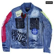reason clothing lion face denim jacket
