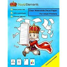 Royal Elements Waterslide Decal Paper Clear For Inkjet Printers 20 Sheets Check Printer To See Wh Waterslide Decal Paper Vinyl Sticker Paper Decal Paper