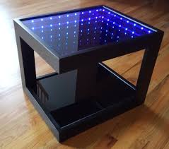 black coffee table with cool illusion