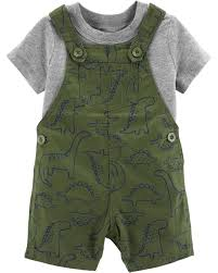 2 piece tee dinosaur shortalls set
