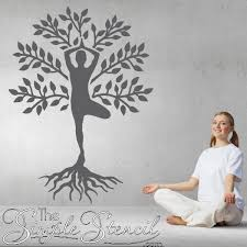Tree Of Life Wall Decals Yoga Studio Decor Tree Stand Pose Wall Art Tree