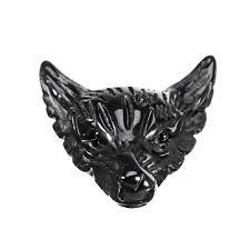 natural black obsidian wolf head