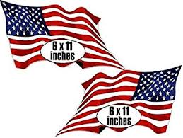 Amazon Com 2 Pack Large Waving American Flag Forward Reverse Stickers Mirror Usa Made Patriotic Us Wave Automotive
