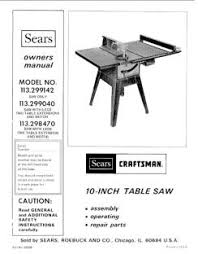 113 299040 Craftsman 10 Inch Table Saw