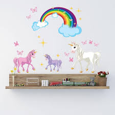 Unicorn Wall Decal Unicorn With Rainbow Wall Decal Set Style And Apply