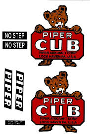 1 4 Scale J 3 Cub Bear Cub Vinyl Decal Set