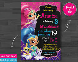Shimmer And Shine Invitation Party Shimmerandshine Shimmerparty