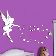3d Mirror Wall Sticker Tinkerbell Fairy Princess Stars Wall Decal For Kids Rooms Wish