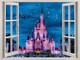 3d Window Disney Castle Wall Decal Home Decor By Windowgallery2016 Kids Wall Decals Wall Decals Disney Wall